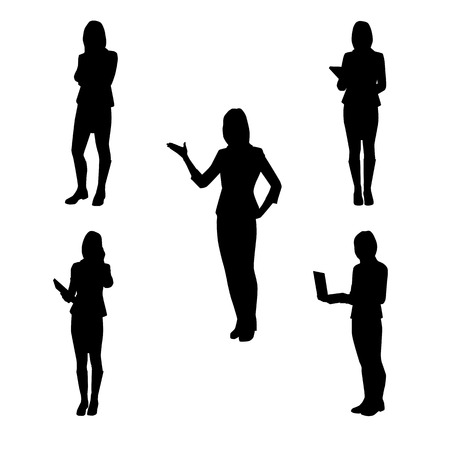 Collection of vector silhouettes of women at work - at school, at the office, at the presentation, the telephone, with folded arms, with book and laptop
