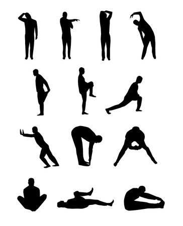 Set of vector stretching silhouettes Иллюстрация