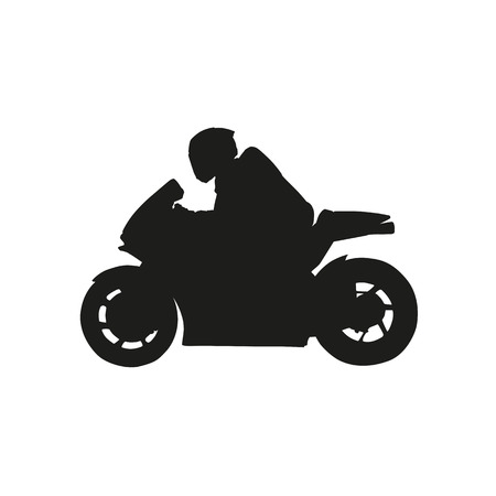 Racer on a motorcycle. Vector silhouette