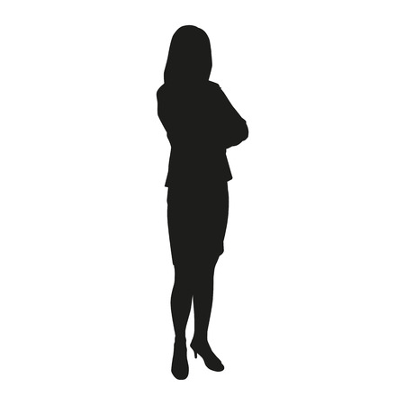 working with hands: Business woman vector silhouette