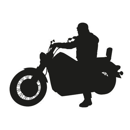 Vector silhouette of chopper motorbike Vector