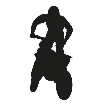 dirtbike: Vector silhoouette of motocross rider Illustration