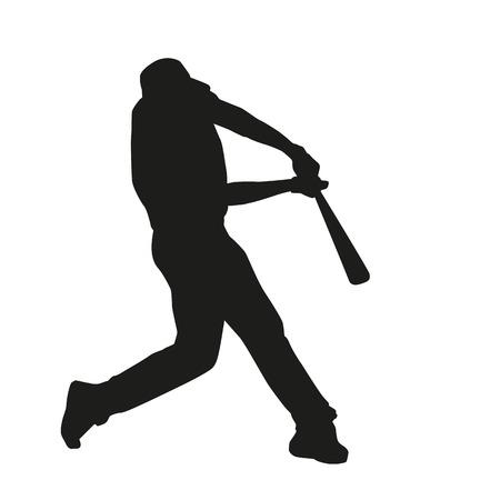 baseball player: Baseball Batter Hitting Ball. Vector silhouette Illustration