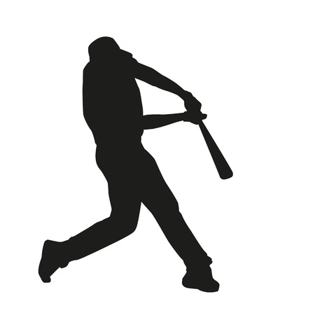 Baseball Batter Hitting Ball. Vector silhouette Illustration