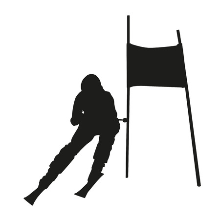 skier: Vector silhouette of the skier passing gate