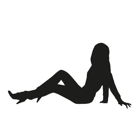 sexual pleasure: Pretty slim woman sitting on the ground.