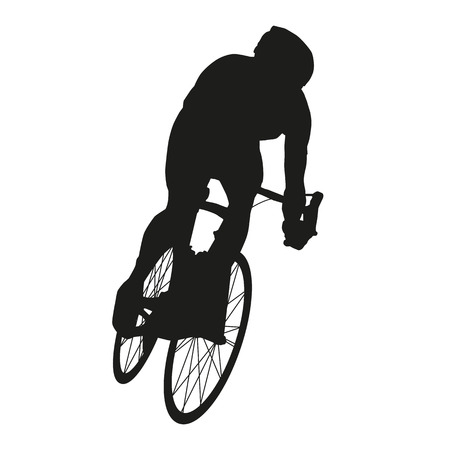 cyclist silhouette: Vector cyclist. Road cycling