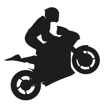 motorbike race: Biker rider lifts the front wheel. Vector silhouette