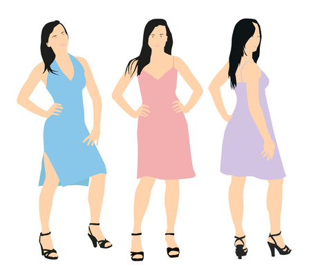 Set of three vector women characters. Young woman in a summer dress Vector