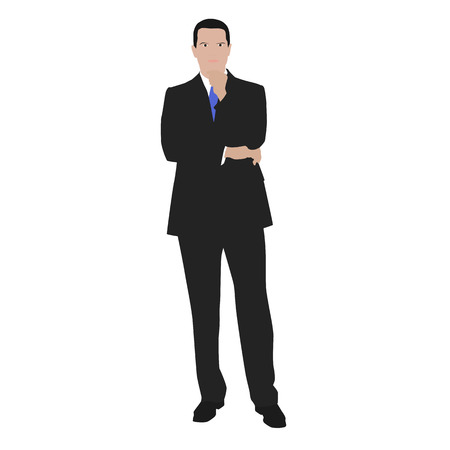 hand on chin: Vector illustration of a thinking man in the gray suit