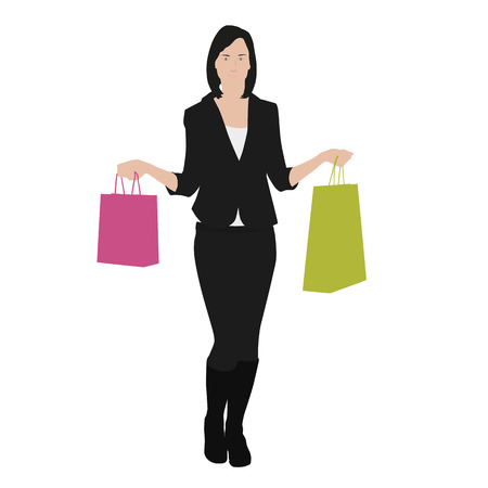 Vector drawing women with shopping bags Vector