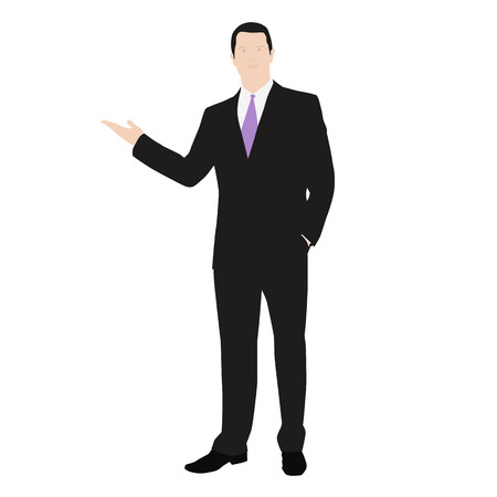 Vector drawing of a successful man dressed in a suit. Presentation or lecture. Show, featuring