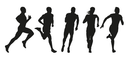 Set of silhouettes of runners. Collection of vector outlines of athletes Ilustracja