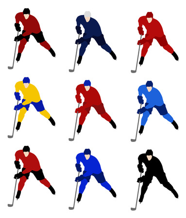 Set vector hockey players in the national jerseys Vector