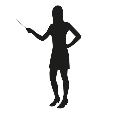 Vector silhouette of a teacher with a pointer to the lecture