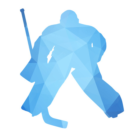 Vector silhouette hockey goalie. Abstract geometrical figure