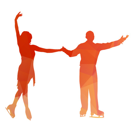 od: Abstract couple od figure skaters Illustration