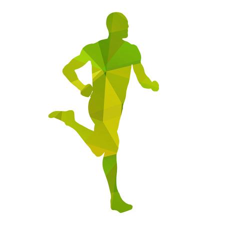 hombre deportista: Corredor vector abstracto verde Vectores