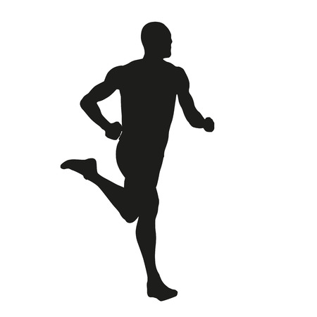 young black man: Vector runner silhouette