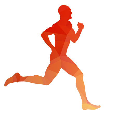 marathon runner: Orange vector runner silhouette