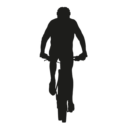 mountainbiking: Isolated vector mountain biker silhouette