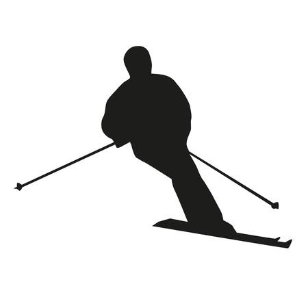 piste: Vector skier silhouette