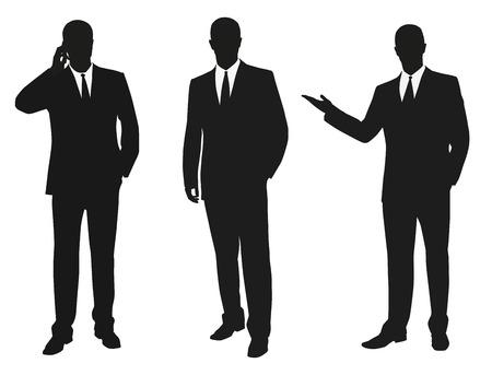 male silhouette: Conjunto de hombres de negocios. Siluetas aisladas de vectores Vectores
