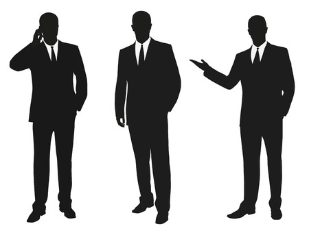 Set of business men. Vector isolated silhouettes Çizim