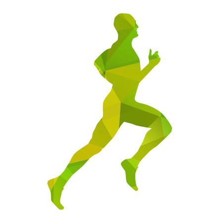 Green abstract vector runner Vector