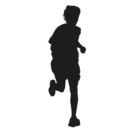 long distance: Running boy vector silhouette Illustration