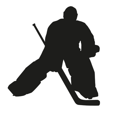 hockey goal: Hockey goalie silhouette Illustration