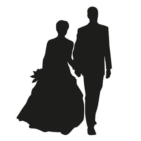 Hochzeitspaar Vektor-Silhouette Standard-Bild - 36510775