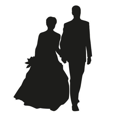 Wedding couple vector silhouette Imagens - 36510775