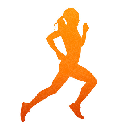 healthy woman white background: Running woman. Abstract isolated vector silhouette