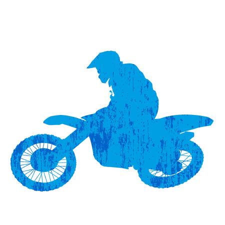 racer: Grunge motocross racer silhouette