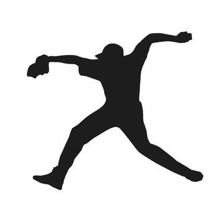 mounds: Baseball player. Throw. Vector silhouette Illustration
