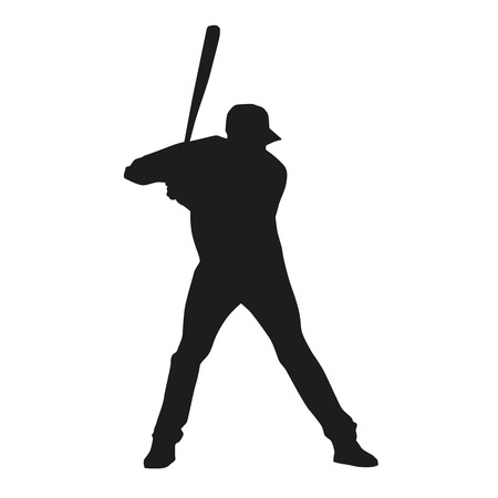 dugout: Baseball player. Vector silhouette