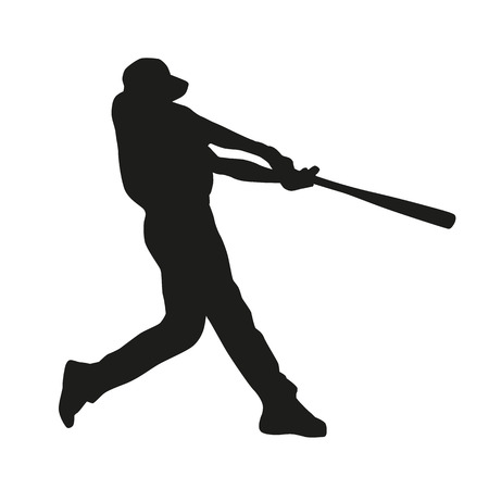 baseball game: Baseball player. Vector silhouette