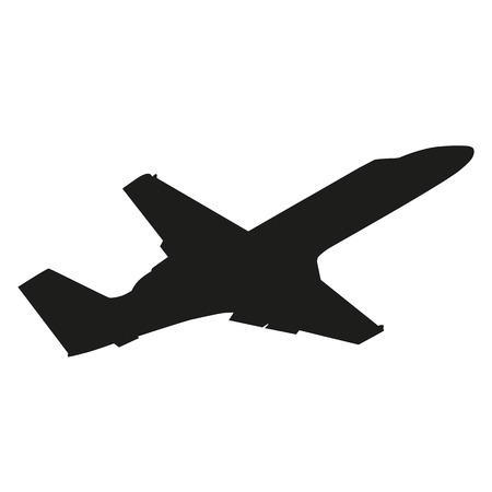 Private jet plane. Vector silhouette