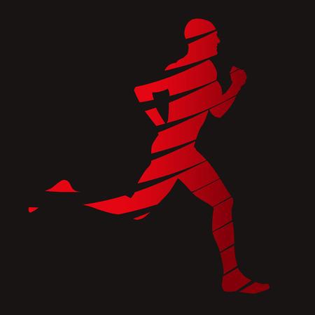 uomo rosso: Abstract vettore corridore Vettoriali