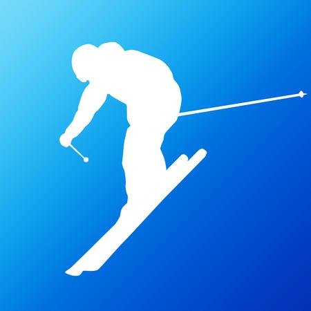 piste: Downhill skier. Vector silhouette