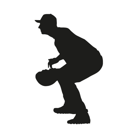 catcher baseball: Baseball vecteur receveur silhouette