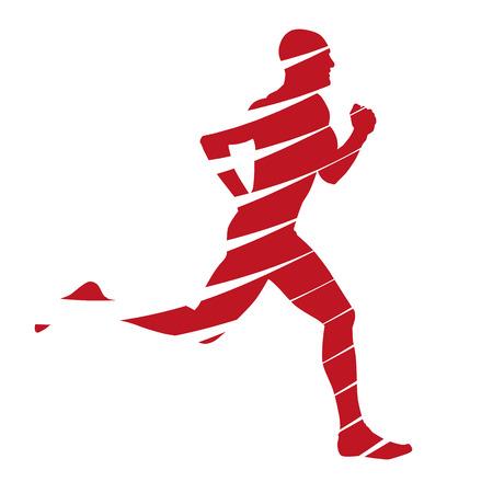 hombre rojo: Silueta abstracta corredor rojo Vectores