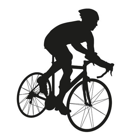 ciclista: Ciclista silueta Vectores