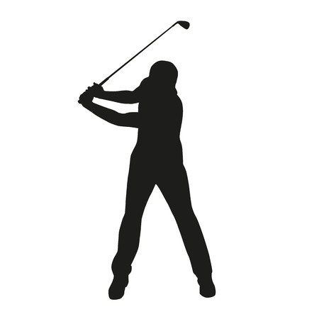 golf man: Golf swing. Isolated vector silhouette