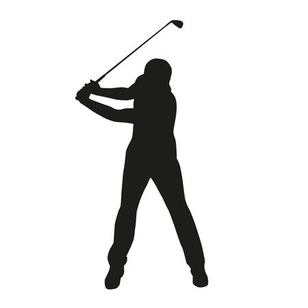 Golfswing. Geïsoleerde vector silhouet