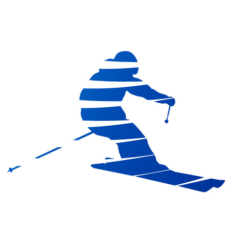 Abstract downhill skier Vector