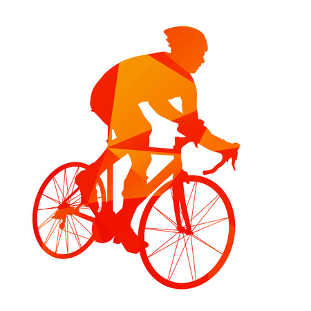 Abstract orange cyclist silhouette Ilustração