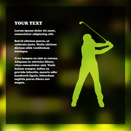 golf field: Golf flyer template with golfer silhouette