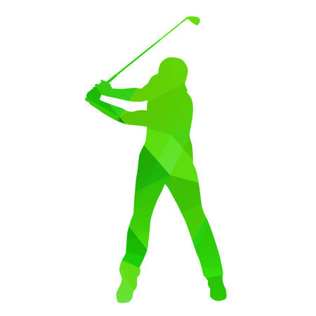 golf clubs: Abstract golfer silhouette